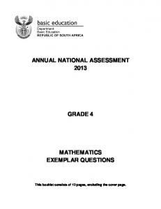annual national assessment 2013 grade 4 mathematics exemplar ...