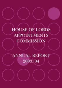 Annual Report 2003 - House of Lords Appointments Commission
