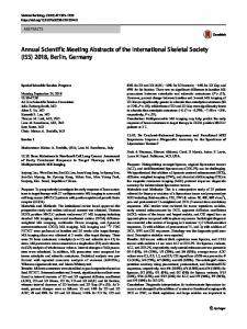 Annual Scientific Meeting Abstracts of the