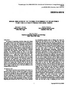 Annual Simulation of the Thermal Performance of Solar Power Plant ...