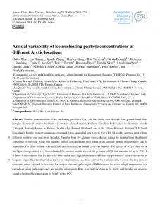 Annual variability of ice nucleating particle concentrations at different