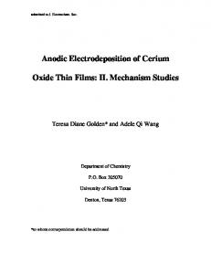 Anodic Electrodeposition of Cerium Oxide Thin Films
