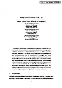 Anonymity in Unstructured Data - HKU CS