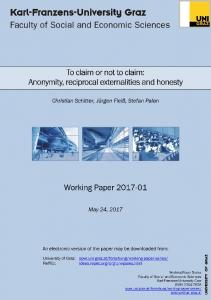 Anonymity, reciprocal externalities and honesty