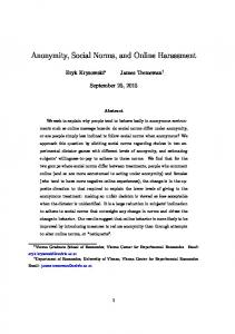 Anonymity, Social Norms, and Online Harassment