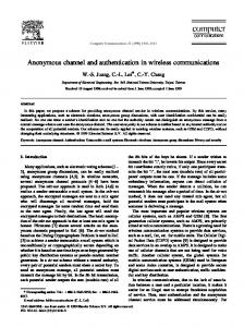 Anonymous channel and authentication in ... - Semantic Scholar