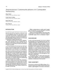 Anonymous Communications in Computer Networks