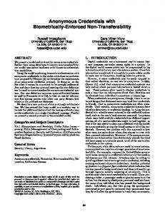 Anonymous Credentials with Biometrically-Enforced Non-Transferability