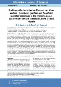 Anopheles gambiae and Anopheles funestus Complexes in the ...