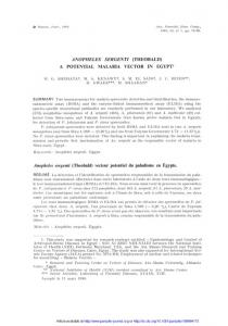 Anopheles sergenti (Theobald) a potential malaria vector in ... - Parasite