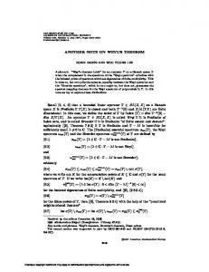 ANOTHER NOTE ON WEYL'S THEOREM Recall - American ...
