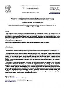 Answer comparison in automated question answering