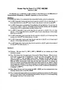 Answer Key for Exam 2 in CPSC 468/568 - Zoo