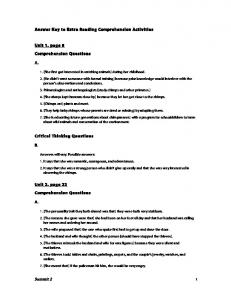 Answer Key to Extra Reading Comprehension Activities Unit 1, page ...