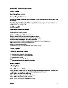 Answer Key to Reading Strategies Unit 1, page 8 Classifying ...