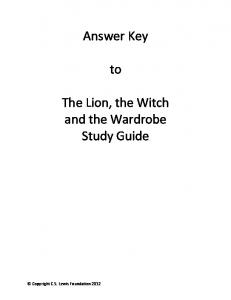 Answer Key to The Lion, the Witch and the Wardrobe Study Guide