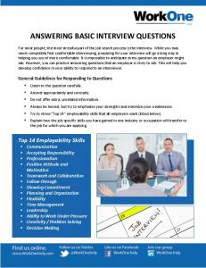 Answering Basic Interview Questions - WorkOneIndy