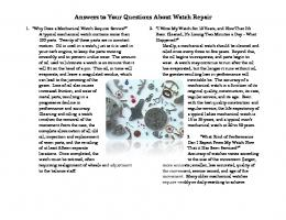 Answers to Your Questions About Watch Repair Answers to Your ...