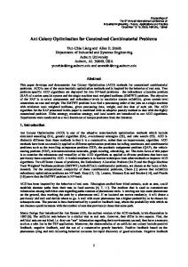 Ant Colony Optimization for Constrained Combinatorial ... - CiteSeerX