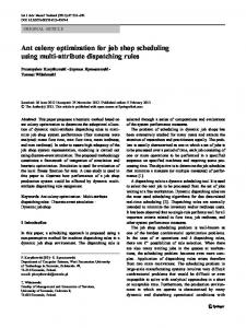 Ant colony optimization for job shop scheduling using ... - Springer Link
