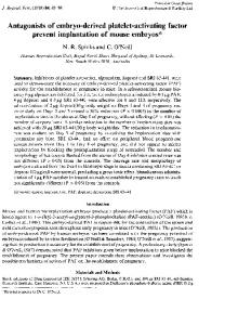 Antagonists of embryo-derived platelet-activating factor ... - Reproduction
