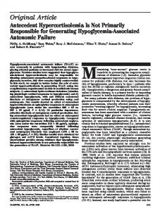 Antecedent Hypercortisolemia Is Not Primarily Responsible for ...
