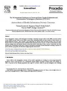 Antecedents of Health Information Privacy Concerns - Science Direct