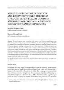 aNtECEdENtS oF tHE iNtENtioN aNd bEHaVior toWard pUrCHaSE oF ...