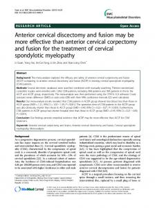 Anterior cervical discectomy and fusion may be more ... - Springer Link
