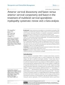 anterior cervical discectomy and fusion versus ... - Semantic Scholar