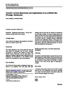 Anterior cervical discectomy and implantation of an ... - Springer Link