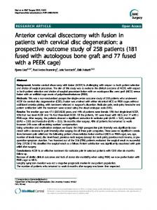 Anterior cervical discectomy with fusion in patients ... - BioMedSearch