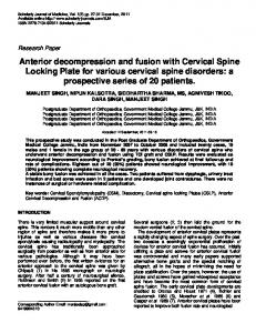 Anterior decompression and fusion with Cervical ...