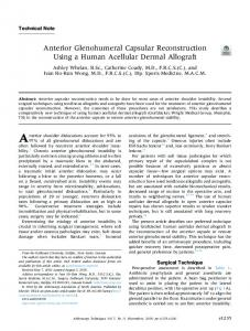 Anterior Glenohumeral Capsular Reconstruction Using a Human
