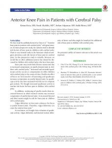 Anterior Knee Pain in Patients with Cerebral Palsy - KoreaMed Synapse