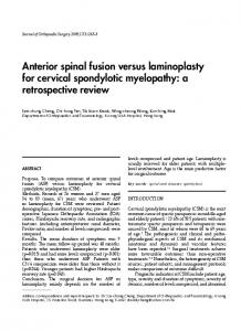 Anterior spinal fusion versus laminoplasty for cervical spondylotic ...