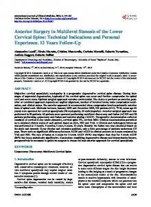 Anterior Surgery in Multilevel Stenosis of the Lower Cervical Spine ...