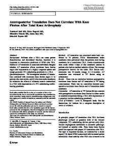 Anteroposterior Translation Does Not Correlate With ... - Springer Link