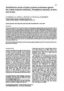 Anthelmintic action of plant cysteine proteinases ...