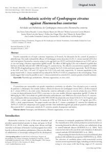 Anthelmintic activity of Cymbopogon citratus ... - Semantic Scholar