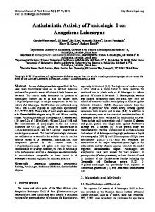 Anthelmintic Activity of Punicalagin from Anogeissus Leiocarpus