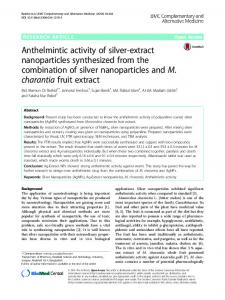 Anthelmintic activity of silver-extract nanoparticles synthesized from ...