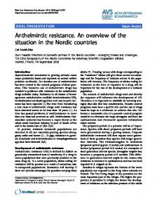Anthelmintic resistance. An overview of the situation in the Nordic ...