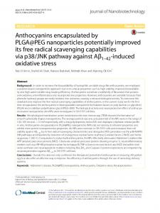 Anthocyanins encapsulated by PLGA@PEG nanoparticles potentially ...