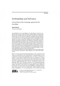 Anthropology and Advocacy - SAGE Journals - Sage Publications