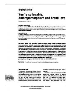 Anthropomorphism and brand love - Brand Love Central