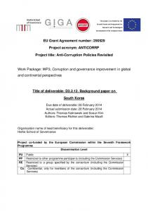 Anti-Corruption Policies Revisited Work Package - European ...