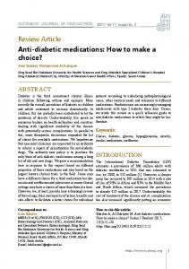 Anti-diabetic medications: How to make a choice?