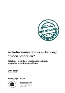 Anti-discrimination as a challenge of social cohesion?