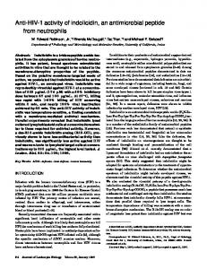 Anti-HIV-1 activity of indolicidin, an antimicrobial peptide ... - CiteSeerX